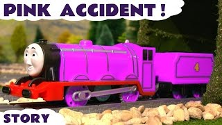 Gambar cover Thomas and Friends Toy Trains Pink Accident with funny banana Minions - Train Toys for kids  TT4U