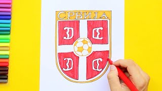 How to draw and color Serbia National Football Team Logo