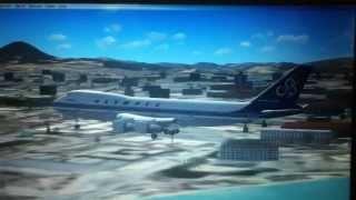 Olympic airways 747 landing at nikos kazantzakis airport (FSx)