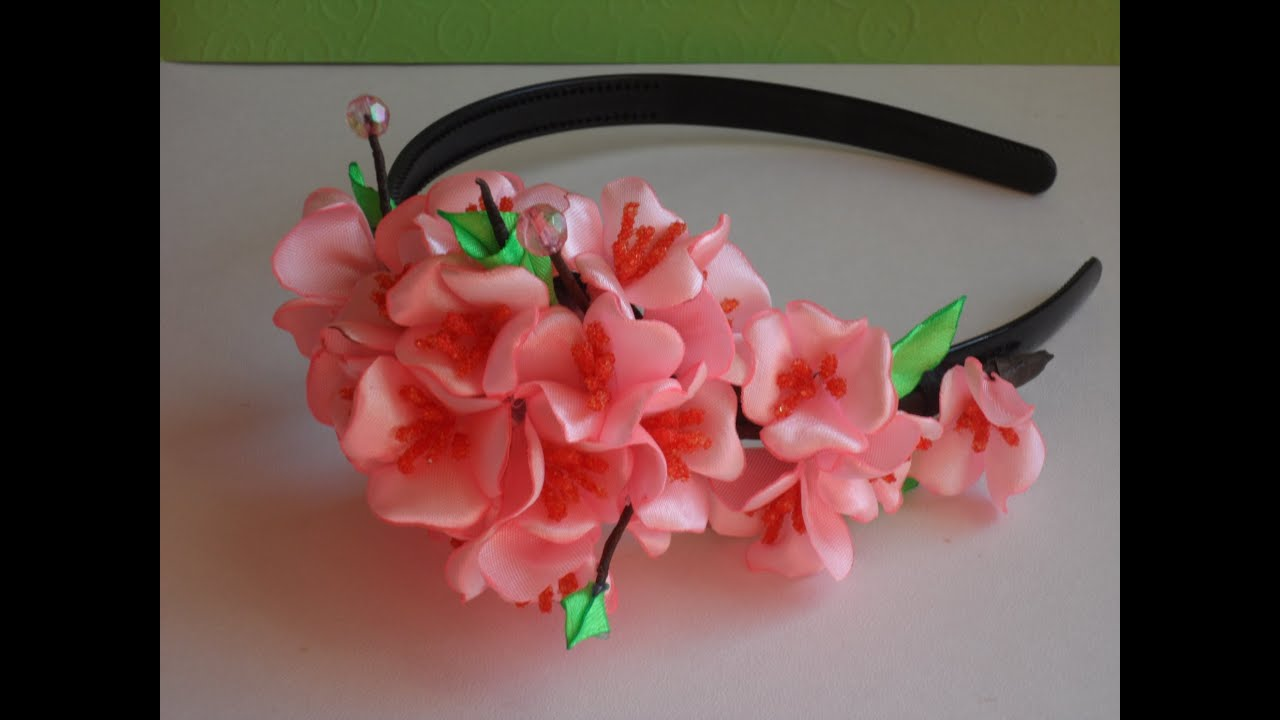 Японская Сакура ободок Канзаши D.I.Y. Japanese Sakura rim kanzashi