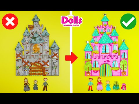 👸🏠👪BAD DOLLHOUSE Vs GOOD HOUSE FOR DOLLS PRINCESS FAMILY EASY PAPER CRAFTS FOR GIRLS