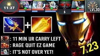 11 Min Carry Rage Quit 4vs5 7.23 Scepter Clockwerk +52 Armor Imba Overclocking Level 30 EPIC Dota 2