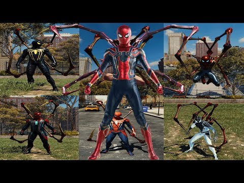 All Suits In Game With Iron Arms Ability Gameplay (Spider Man PS4)