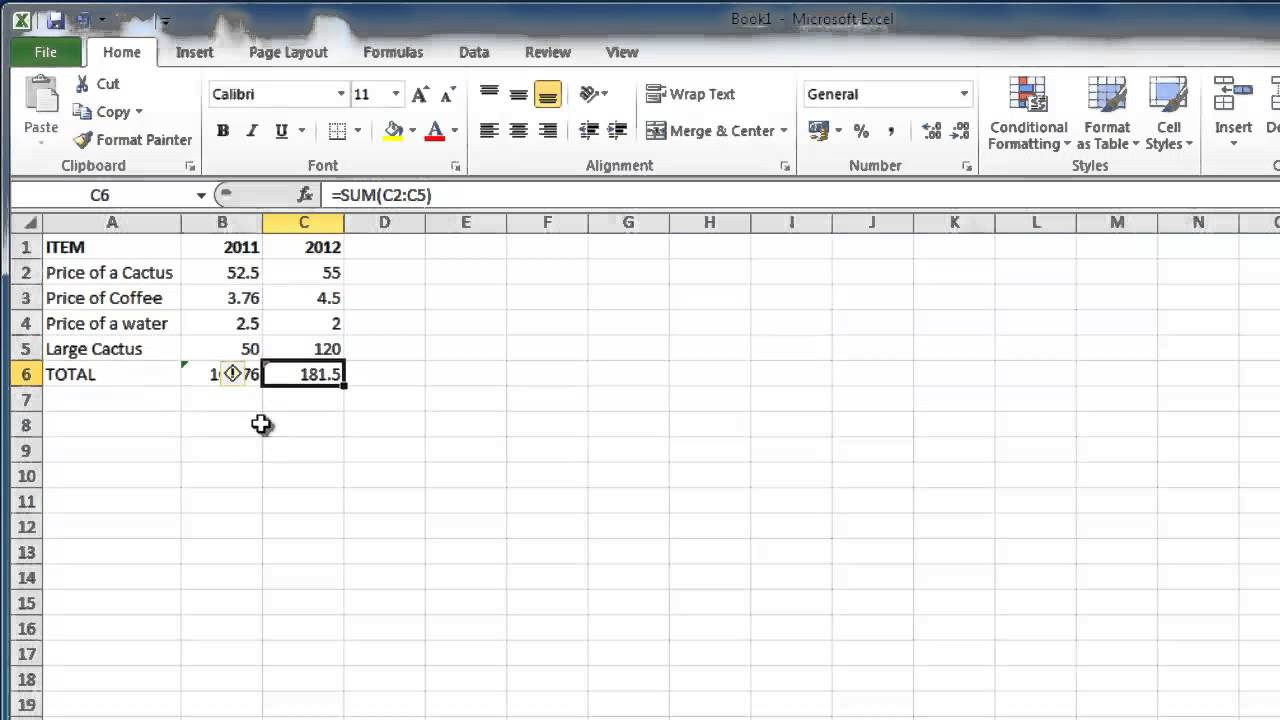 How to make excel 2010 formulas absolute
