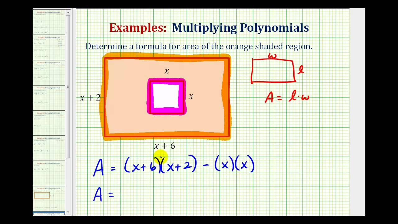 Worksheets Find The Area Of The Shaded Region Worksheet With Answers ex determine the area of a shaded region using polynomial youtube polynomial