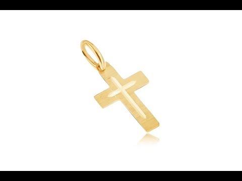 Jewellery - Pendant made of yellow 14K gold - flat satin Latin cross, engraved