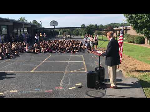 Rick Wood speaks at Edneyville Elementary School groundbreaking ceremony