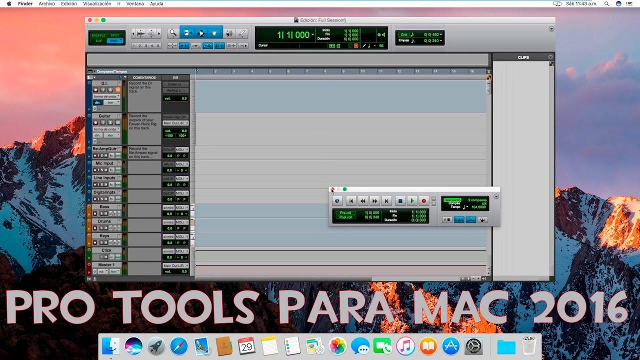 Screenshots of Pro Tools