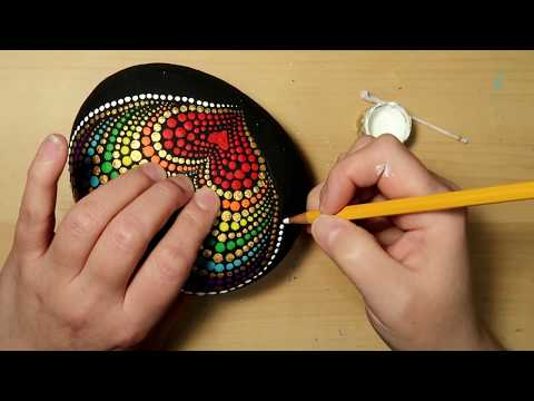 EASY Dot Art Stone Painting Using ONLY a Qtip & Pencil FULL TUTORIAL Rainbow Heart thumbnail