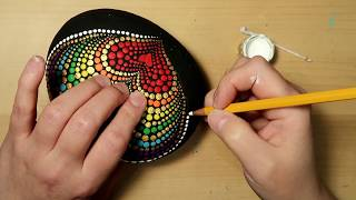 EASY Dot Art Stone Painting Using ONLY a Qtip & Pencil FULL TUTORIAL Rainbow Heart