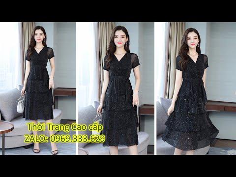 HN166 - Đầm Xòe Thun Kim Tuyến Nhiều Tầng , Chất Thun Kim Tuyến Co Giãn, Cho Các Chị Mặc Thoải Mái