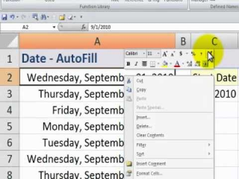 Excel - Automatically fill-in dates