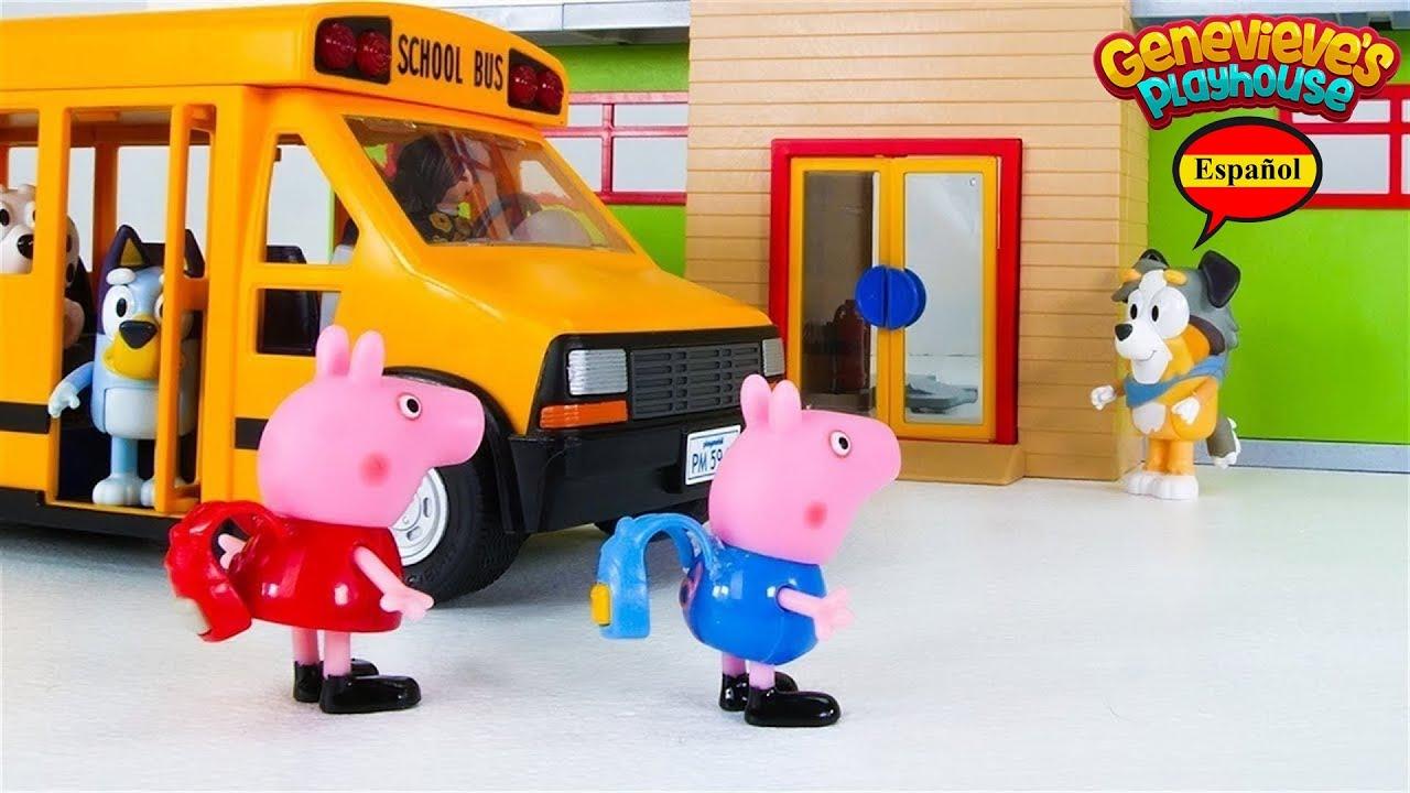 ¡Peppa Pig y Bluey van a la Escuela!