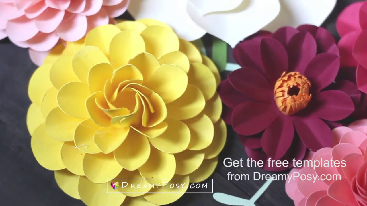 Free paper flower templates and tutorial for beginners