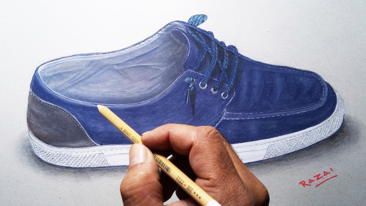Realistic drawing : How to draw a realistic Shoe on paper, trick art  drawing and painting