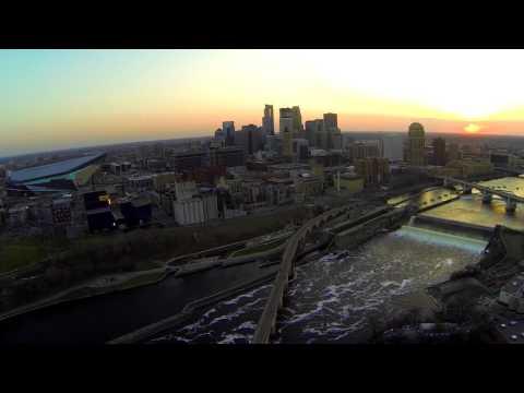 Saint Anthony Falls, Minnesota (drone footage)