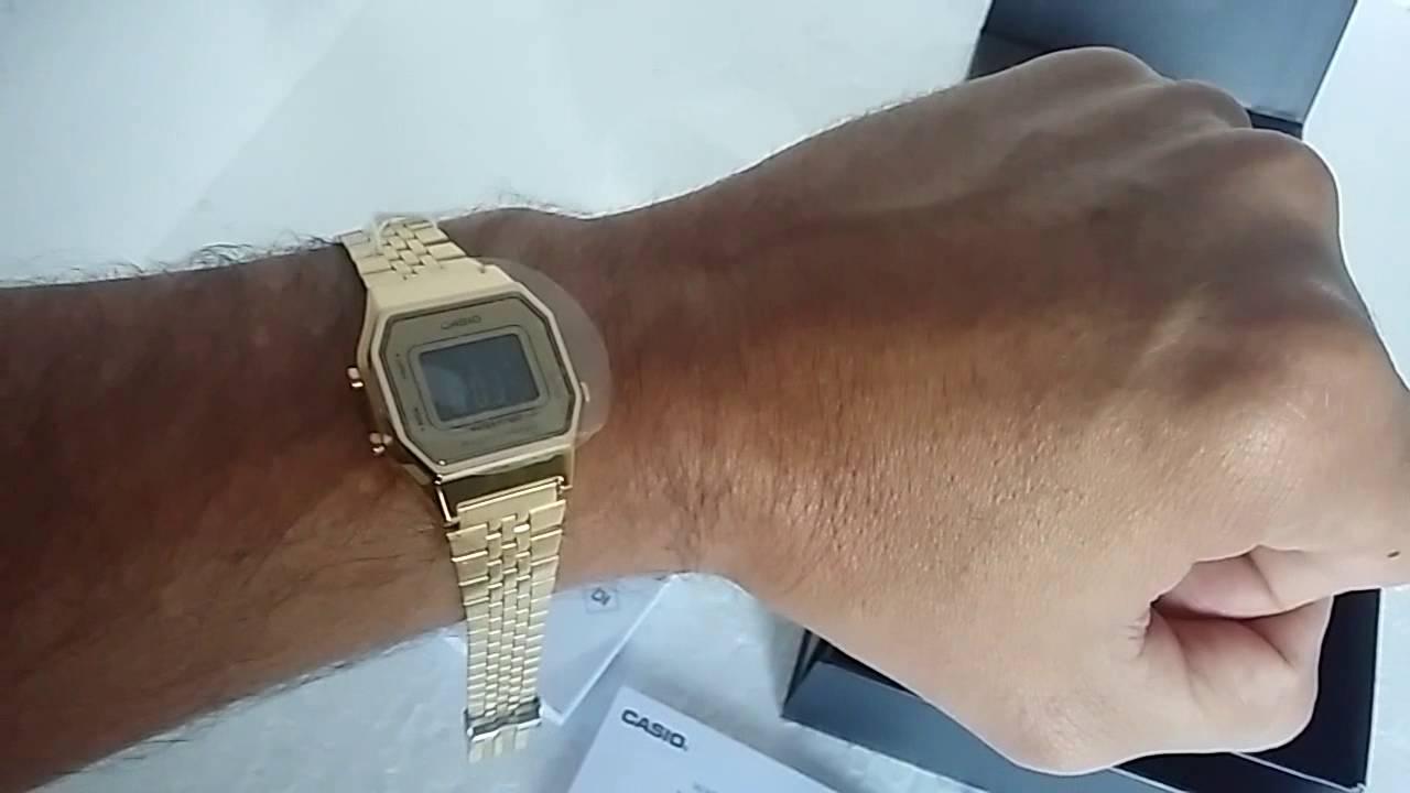db8c63d3073 Relógio Feminino Casio Vintage LA-680WGA-9BDF Dourado de Aço - YouTube