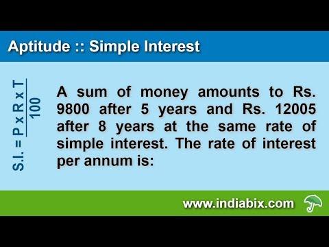 The rate of interest per annum | Simple Interest | Aptitude | IndiaBIX