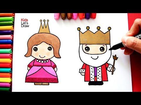 Como Dibujar Y Colorear Al Rey Y La Reina De Manera Facil Dibujos Para Chicos Kidsletsdraw Youtube