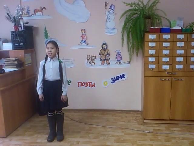 Изображение предпросмотра прочтения – Ай-кысХомушку читает произведение «Зима» И.З.Сурикова