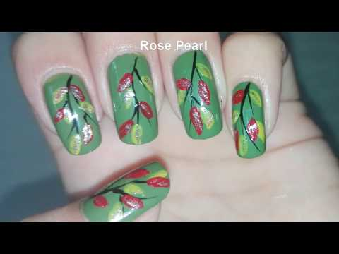 Fall Leaves Nail Art Tutorial- Autumn Nails | Rose Pearl thumbnail