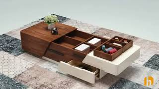 """Modern Chic 51"""" Extendable Coffee Table with Storage Manufactured Wood in White & Walnut Review"""