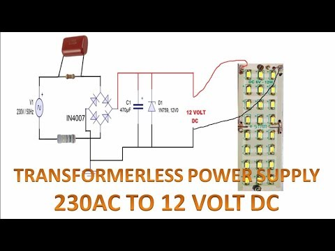 Transformerless Power Supply 230 Volt Ac To 12 Volt Dc
