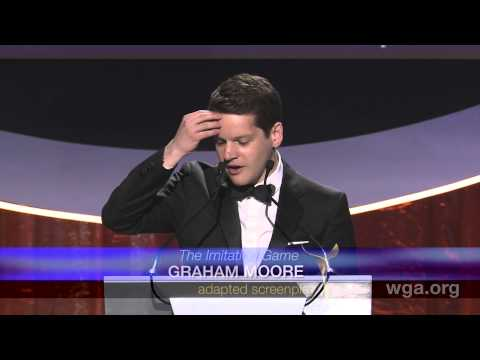 Imitation Game writer Graham Moore accepts the 2015 WGA ...
