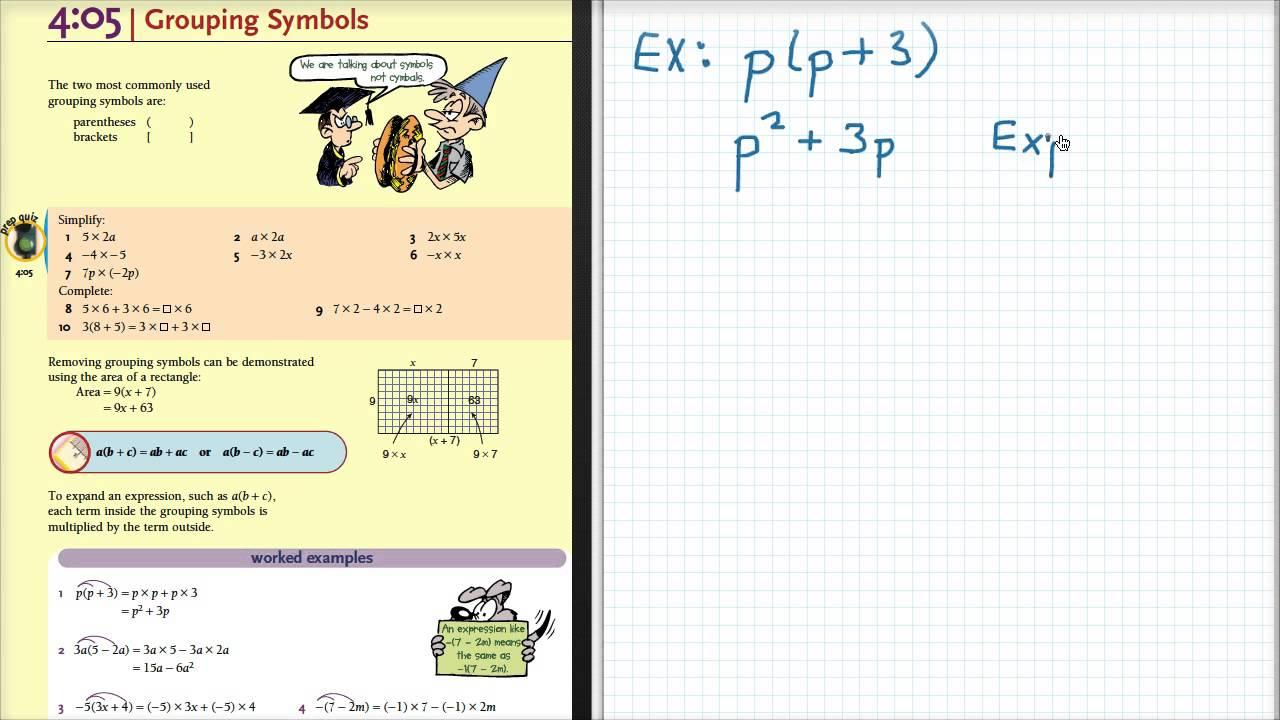 Grade 8 ex 405 grouping symbols youtube grade 8 ex 405 grouping symbols biocorpaavc Choice Image