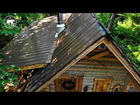 Installing a Metal Roof on an Off Grid Log Cabin Alone | Alaska Update