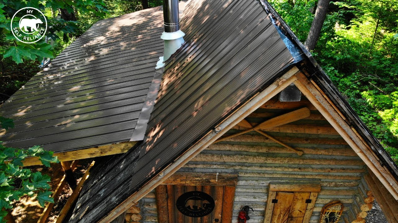 My Self Reliance Installing a Metal Roof on an Off Grid Log Cabin Alone | Alaska Update