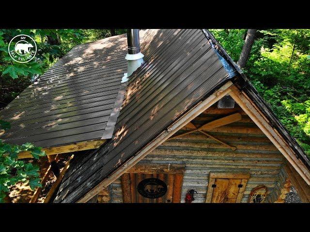 Installing a Metal Roof on an Off Grid Log Cabin Alone   Alaska Update