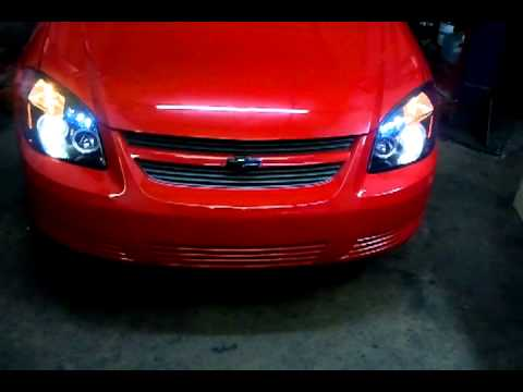 In With Da New Smoked Halo Projector Headlights Red And Black 07 Chevy Cobalt On 18 S Part 2 Of 3
