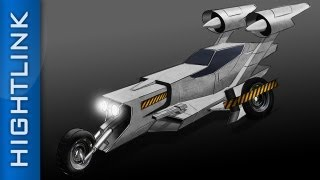 Science Fiction Race Car - Photoshop drawing