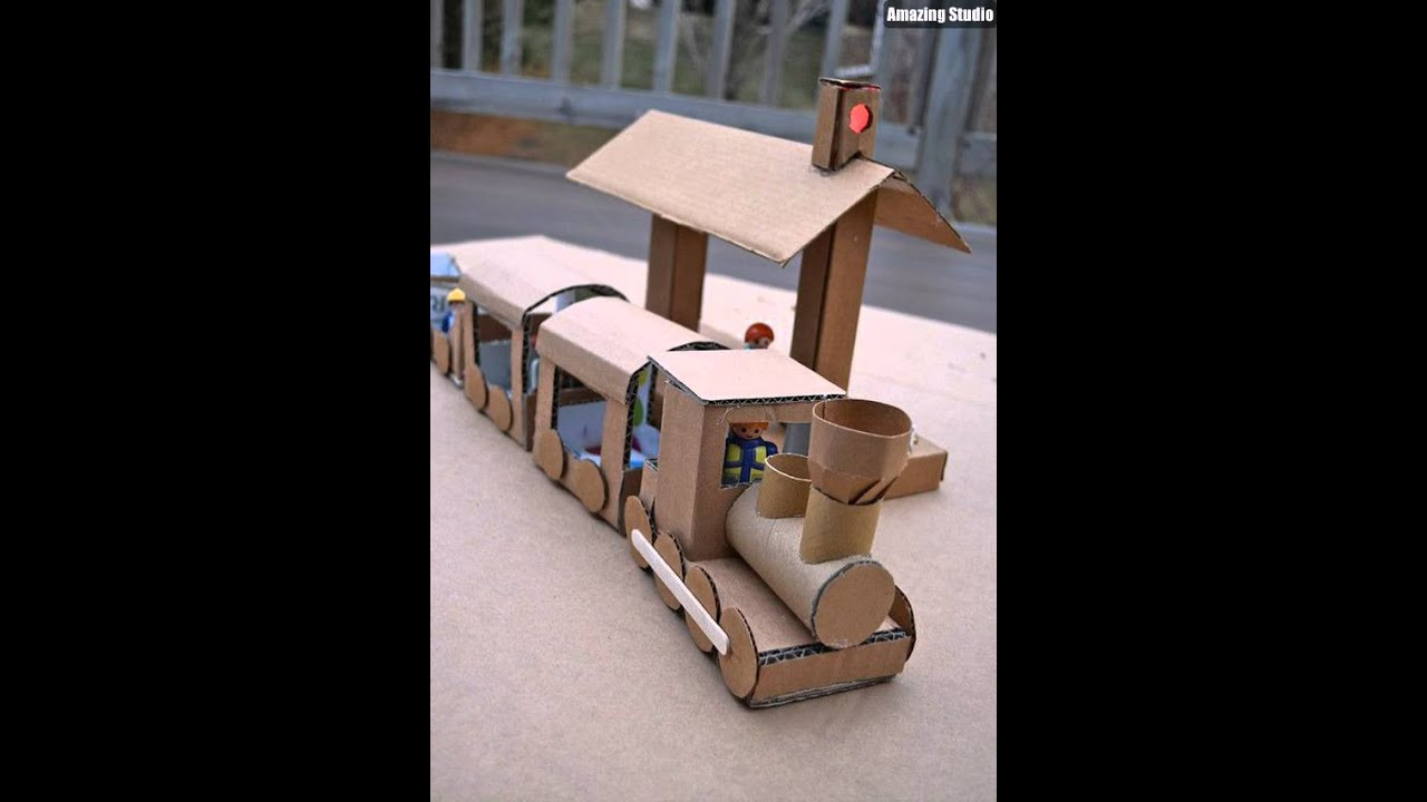 DIY Cardboard Trains For Kids Toy - YouTube