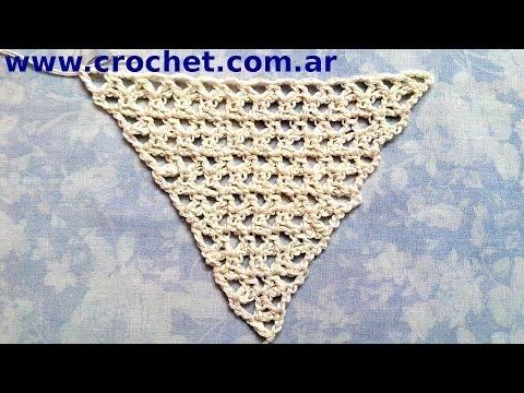 Como tejer un Chal triangular en tejido crochet tutorial paso a ...