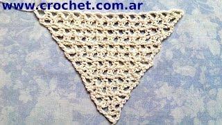 Como tejer un Chal triangular en tejido crochet tutorial paso a paso.