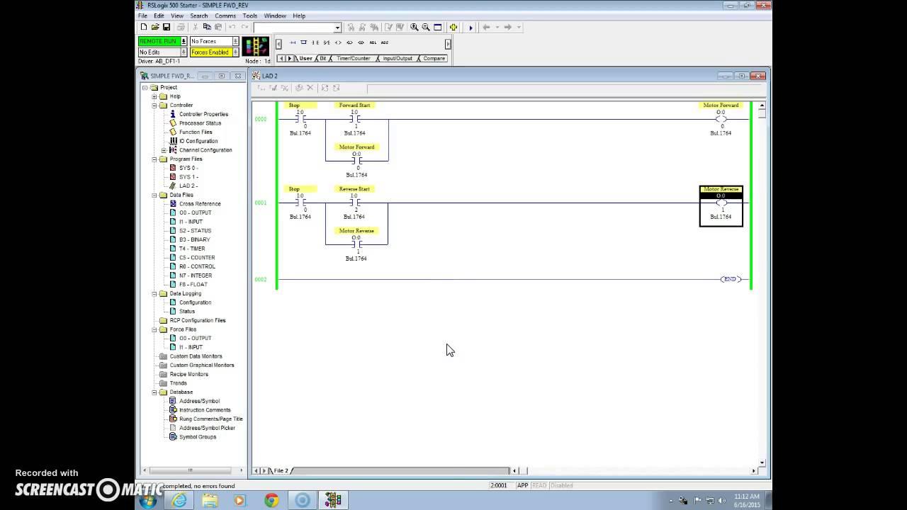 Rslogix Simple Forward Reverse Motor Control  Turn On Cc