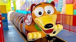 Slinky Dog Dash Roller Coaster - 3 RIDES - Front, Middle & Back Row, Toy Story Land Early Morning