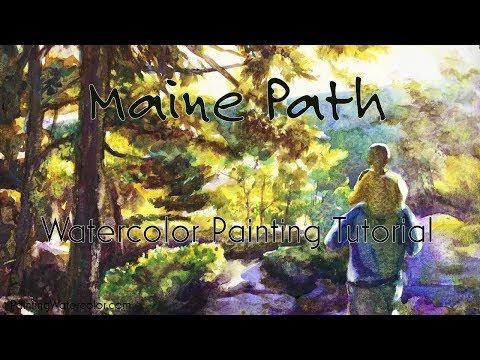 Watercolor Painting Tutorial, Maine Path 4k
