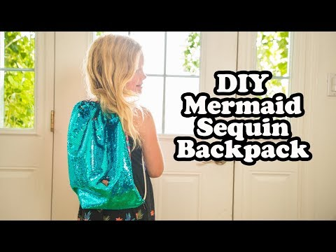 5a5f5e6f8 Make a Mermaid Sequin Drawstring Backpack | The DIY Mommy