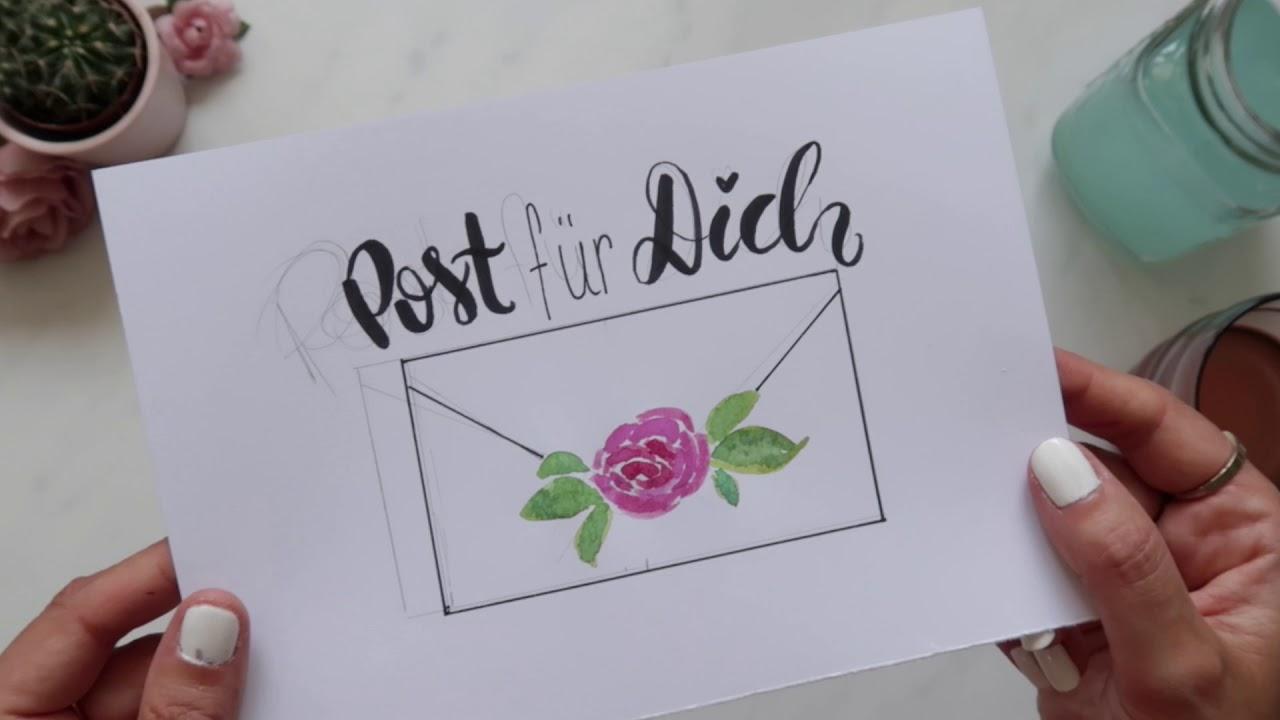 Handlettering Aquarell Für Deine Post I Briefpapier Umschläge