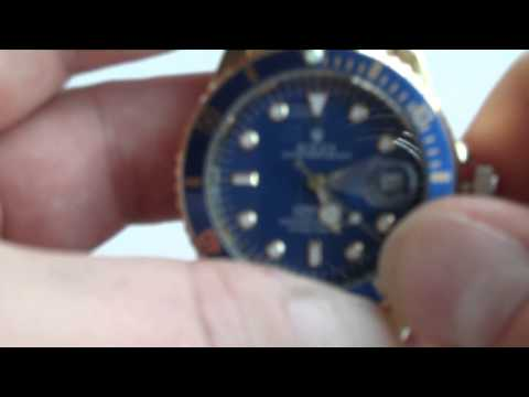 Novelty Rolex Watch - How to Set Date, Time and Wind (Gold Effect)