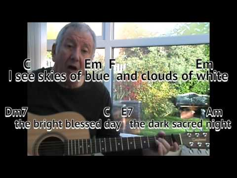 What A Wonderful World - Louis Armstrong - easy chords guitar lesson ...