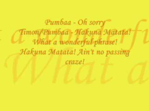 Hakuna Matata - Lion King (Lyrics)