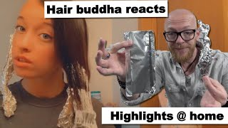 Hair Buddha reacts on Foil Bleach hair Fail - Pro Hairdresser hair tips