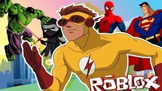 KID FLASH VS SUPERMAN - ROBLOX SUPER HERO TYCOON! (Kid flash fights superheros)