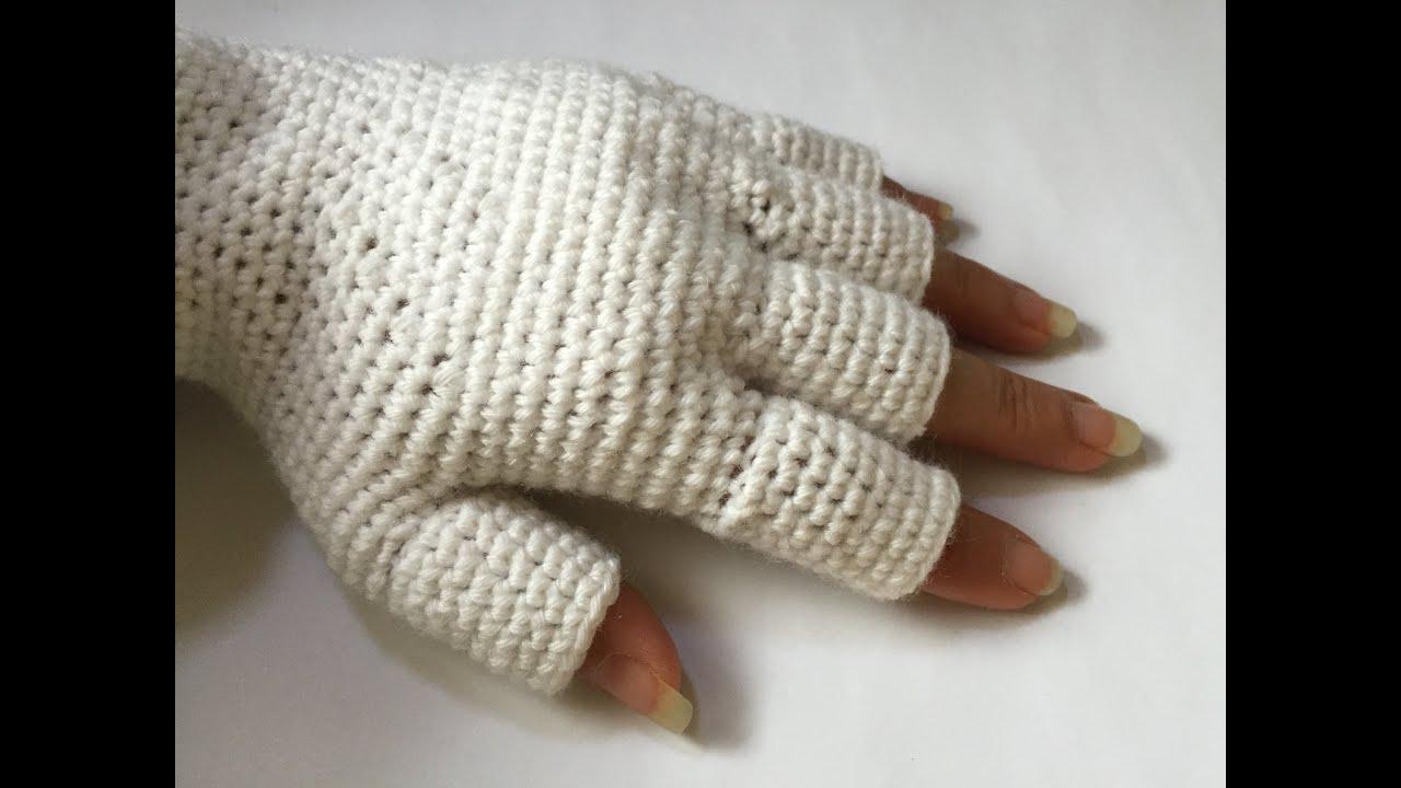 Tuto gants avec demi doigts au crochet youtube - Comment tricoter des mitaines avec doigts ...