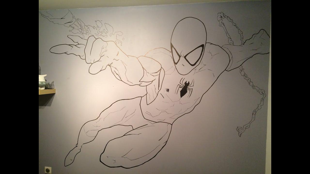 dessin sur mur spiderman - youtube - Comment Dessiner Sur Un Mur De Chambre