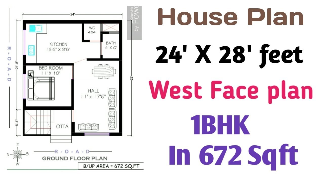 24 39 X 28 39 House Plan West Face 25 By 28 House Plan